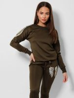 Army Green Sequin Wings Embellished  2 Piece Tracksuit